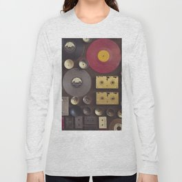 Music. Vintage wall with vinyl records and audio cassettes hung. Long Sleeve T-shirt