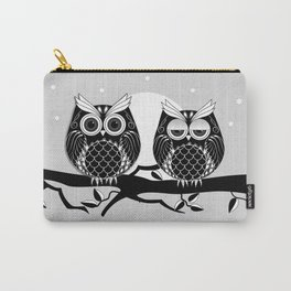 Graphic vector owl on branch in B&W Carry-All Pouch
