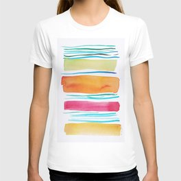 15   |181026 Lines & Color Block | Watercolor Abstract | Modern Watercolor Art T-shirt