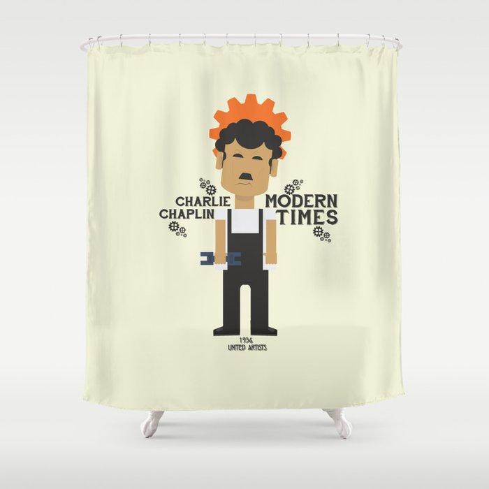 Modern Times Charlie Chaplin Minimal Movie Poster Classic Film Charlot Playbill Shower