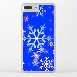 DECORATIVE BLUE  & WHITE SNOWFLAKES PATTERNED ART Clear iPhone Case