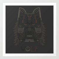 Wolf line illustration Art Print