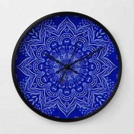 Blue Boho Mandala Wall Clock