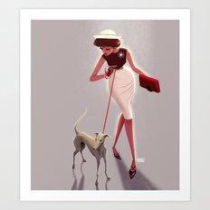 50s dogwalker  Art Print