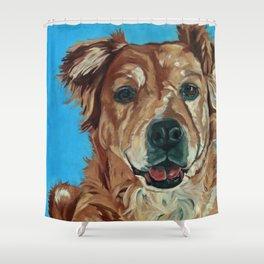 Cody the Golden Labrador Mix Dog Portrait Shower Curtain