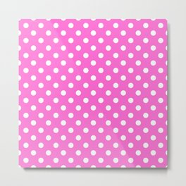 Polka Dot White On Pink Metal Print