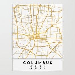 COLUMBUS OHIO CITY STREET MAP ART Poster