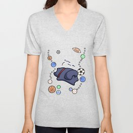 lazy cat chilling Sports Unisex V-Neck