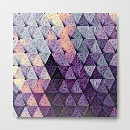 Triangles Purple Swirls Metal Print