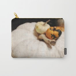 White Pumpkin | Three Pumpkins | Vintage Thanksgiving | Harvest Art Carry-All Pouch