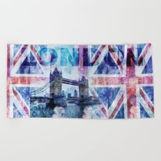 London Tower Bridge mixed media Art and Typography Beach Towel