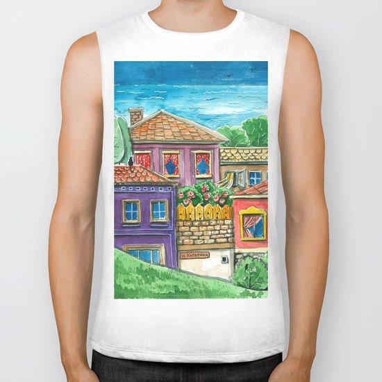 Doodle houses  Biker Tank
