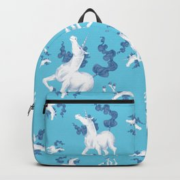 Stencil Unicorn on Teal Sky and Cloud Spray Backpack