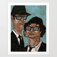 blues brothers Art Prints featuring The Blues Brothers by Dean Arscott Designs LLC