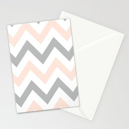 PEACH & GRAY CHEVRON Stationery Cards
