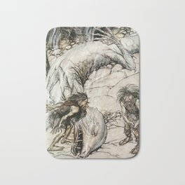 Arthur Rackham - Siegfried and the Twilight of the Gods (1911) - The dwarves quarreling over Fafner Bath Mat