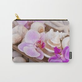 Pink Orchid and Sea Shell Maritime Still Life Carry-All Pouch