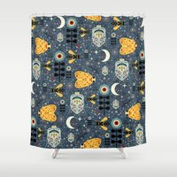 bugs Shower Curtains featuring Midnight Bugs  by Carly Watts