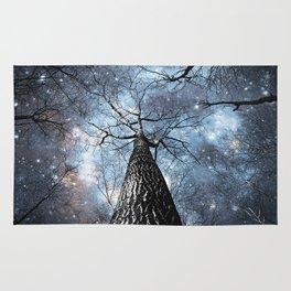 Wintry Trees Galaxy Skies Steel Blue Rug