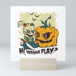 Evil Halloween Doll - Wanna Play? Mini Art Print