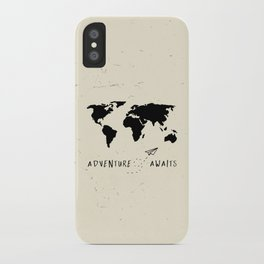 Adventure Map - Vintage Black iPhone Case
