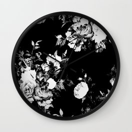 Black and White Retro Roses Wall Clock