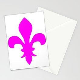 Fleur de Lis (Magenta & White) Stationery Cards