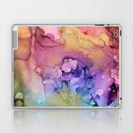 Colorful Abstract Ink Swirls with Gold Marble Laptop & iPad Skin