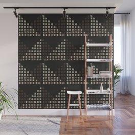 Layered Geometric Block Print in Chocolate Wall Mural