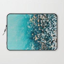 Abstract Turquoise Ocean, Aerial Blue Sea Print, Large Ocean Poster, Coastal Wall Art, Beach Decor Laptop Sleeve