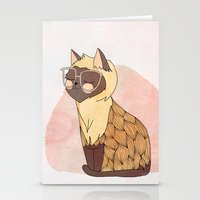 nan lawson Stationery Cards featuring Hip Cat by Nan Lawson