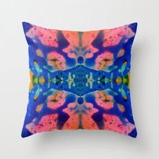 Psychedelic Pink Blue Fractal Throw Pillow