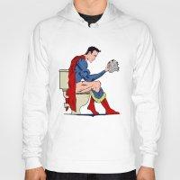 superheros Hoodies featuring Superhero On Toilet by WyattDesign