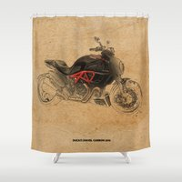 ducati Shower Curtains featuring Ducati Diavel Carbon 2015 by Larsson Stevensem