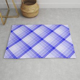 Navy Blue Geometric Squares Diagonal Check Tablecloth Rug
