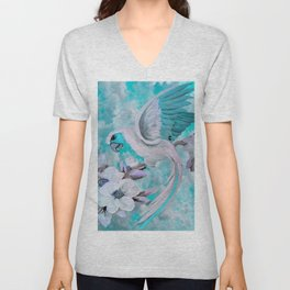 PARROT and MAGNOLIAS Blue And White Unisex V-Neck