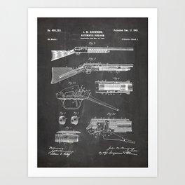 Automatic Rifle Patent - Browning Rifle Art - Black Chalkboard Art Print