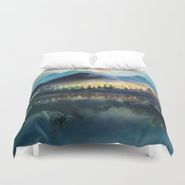 Mountain Lake Under Sunrise Duvet Cover
