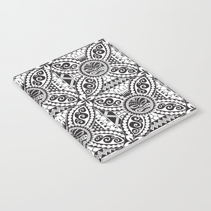 Polynesian Samoan Hawaiian Black White Tattoo Design Notebook By