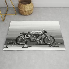 Beer Savage Vintage Norton Cafe Racer Rug