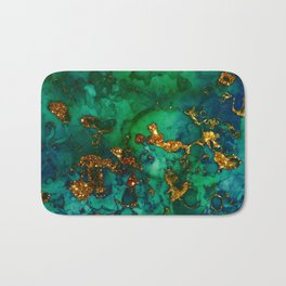 Emerald And Blue Glitter Marble Bath Mat