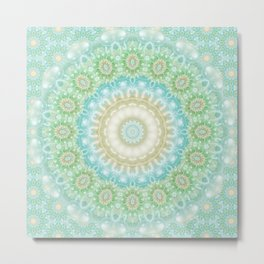 Earth and Sky Mandala in Pastel Blue and Green Metal Print