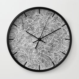 Grey and white swirls doodles Wall Clock
