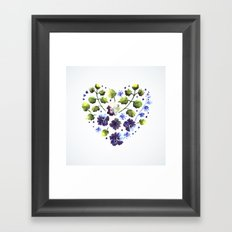Watercolor decorative blue flowers heart Framed Art Print