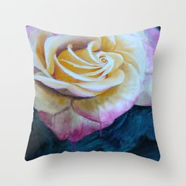 Pink and Yellow Rose painting Throw Pillow