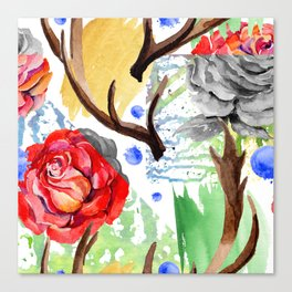 Hand painted red pink green watercolor geometrical abstract roses Canvas Print