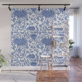 Chinoiserie Vines in Delft Blue + White Wall Mural