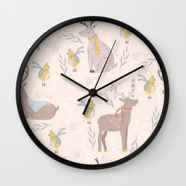 Christmas Deer and Bird Wall Clock