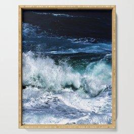 Dark Blue Waves Serving Tray