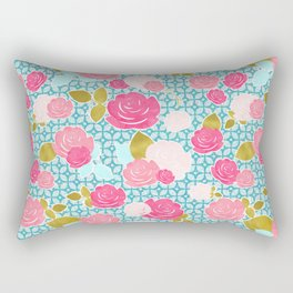 Blue & Pink Roses Allover with Geometric Pattern and Gold Rectangular Pillow